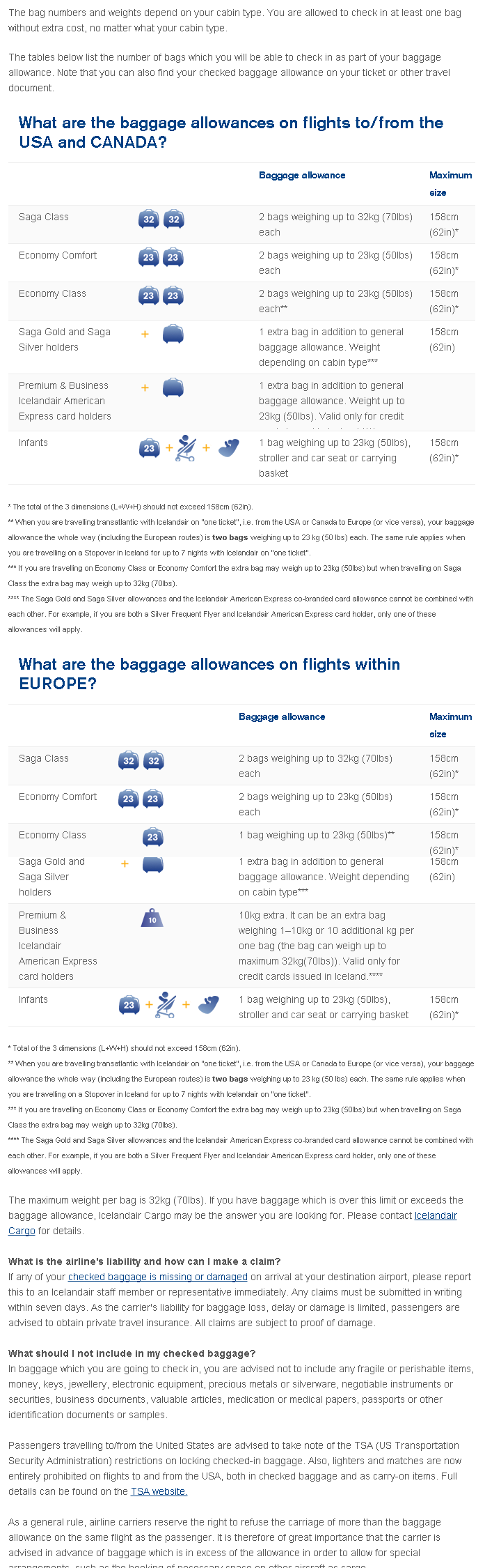 icelandair baggage allowance