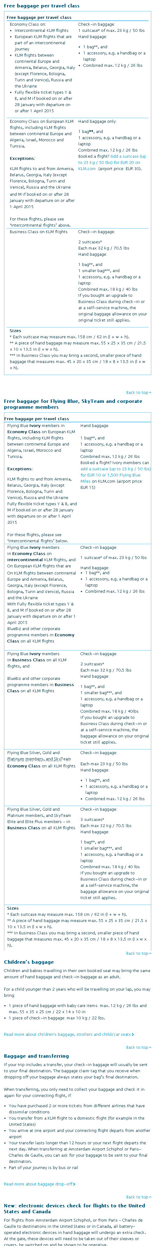 Klm airlines baggage allowance