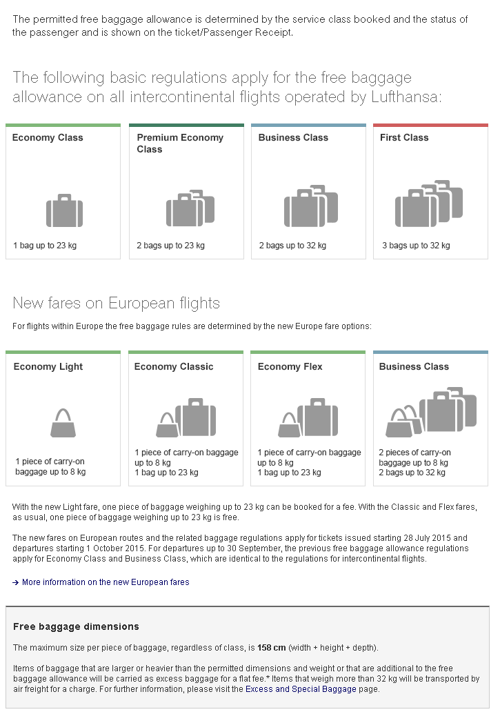 Lufthansa Baggage Allowance and Information